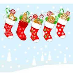 Christmas socks and sweets vector image