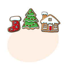 christmas tree house boot gingerbread cookies vector image