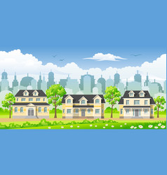 cityscape with three classic houses vector image
