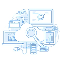 Cloud computing service and internet vector image