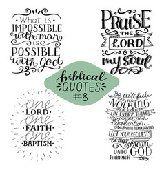 Collection 4 with 4 bible verses praise lord vector