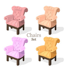 colorful chairs set modern upholstery vector image