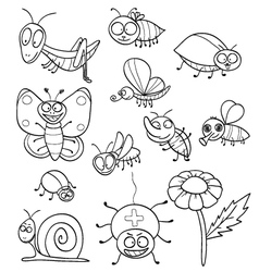 Coloring book with insects vector image