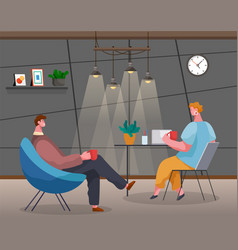 conversation office workers cup coffee vector image