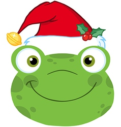 Cute Frog Smiling Head With Santa Hat vector image