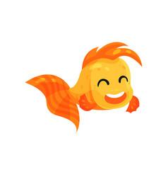 cute happy goldfish funny fish cartoon character vector image