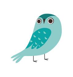 Cute owlet adorable blue owl bird cartoon vector