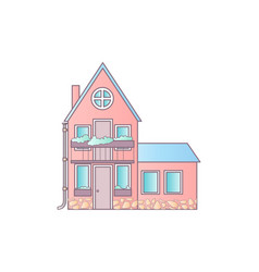 Detailed colorful cottage house flat style modern vector