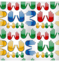 Diversity glossy hands up pattern vector