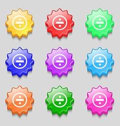 Dividing icon sign Symbols on nine wavy colourful vector