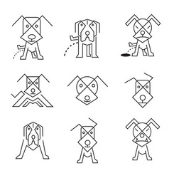 Dog icons line art vector