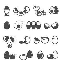 egg icon set natural fresh chicken product vector image