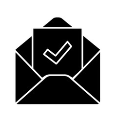 Email confirmation glyph icon vector