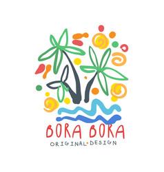 Exotic summer bora bora travel logo vector
