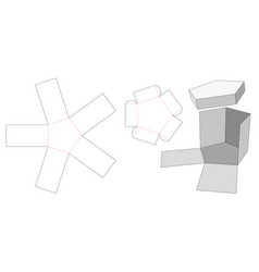 Exploding hexagon box and lid die cut template vector
