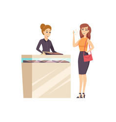 Female in jewelry store with consultant vector