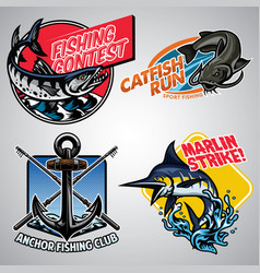 Fishing badge design collection in colored vector