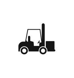forklift icon in single color industrial vehicle vector image