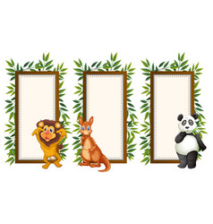 frames with wild animals and leaves vector image