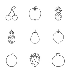Fruit icons set outline style vector
