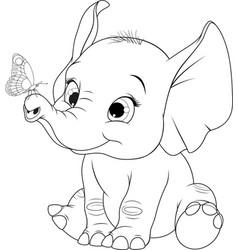 Funny kid elephant vector
