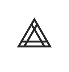 geometric triangle logo element in thin line style vector image
