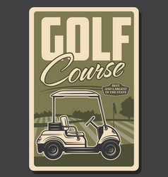 Golf club green course and tee golf cart vector