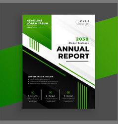 Green geometric annual report template for your vector