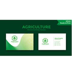 Green line business card design template vector