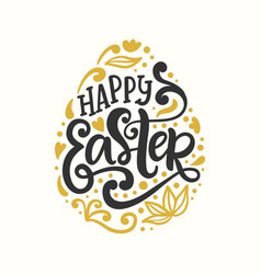 Happy easter egg badge emblem with lettering vector