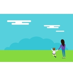 Happy family walks on nature background vector