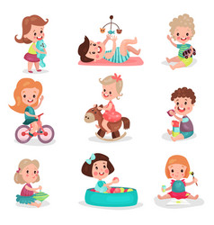 happy kids playing with toys set cute boys and vector image