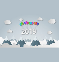 happy new year 2019 creative paper cut style vector image