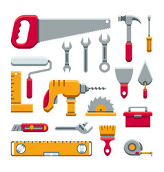 Hardware industrial tools kit flat icons vector