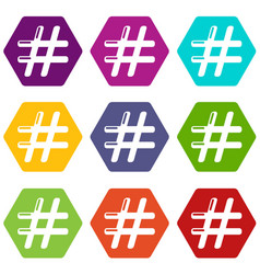 hashtag icons set 9 vector image