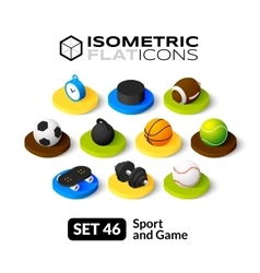 Isometric flat icons set 46 vector image