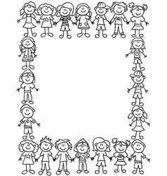Kids friendship border-outline vector image