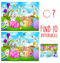 Kids game find ten differences with easter rabbits vector