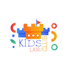 kids land club logo original creative label vector image