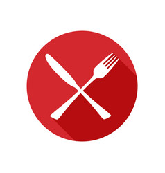Knife and fork icon silhouette in flat vector