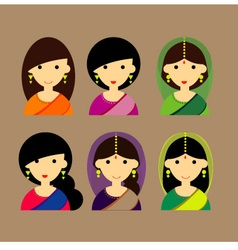 Lady India design set vector