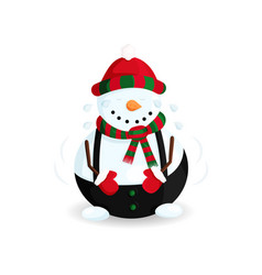 laughing snowman vector image