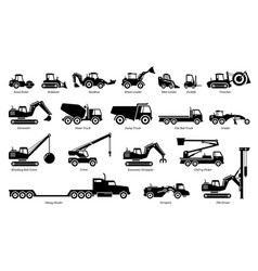 list construction vehicles tractors and heavy vector image