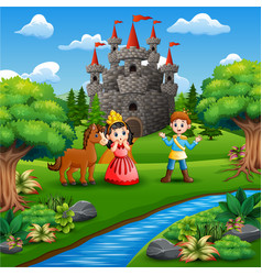 Little princess and prince in the park vector