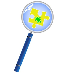 Magnifying glass analyzing puzzle concept vector