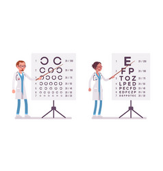 Male and female ophthalmology doctor vector
