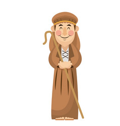Man shepherd christmas character with stick wooden vector