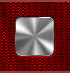 metal square button on red perforated background vector image vector image