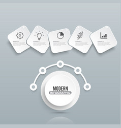 modern infographic template with 3d paper label vector image