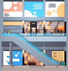 modern shopping center interior big retail store vector image